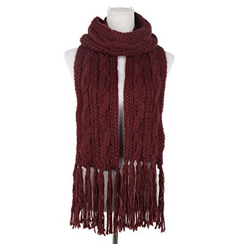 Dasein Men's women's Fashion Long Chunky Hand-Knit knitted Cable Scarf Super Soft Cashmere Feel Classic Solid Color Scarf (Cable Scarf Cashmere Knit)