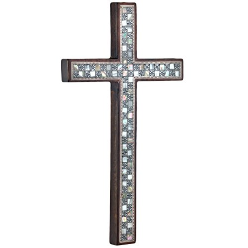Leolana Mother of Pearl Inlaid 100% Handmade Wall Cross, Classic 11.5 Inch - 29.2cm