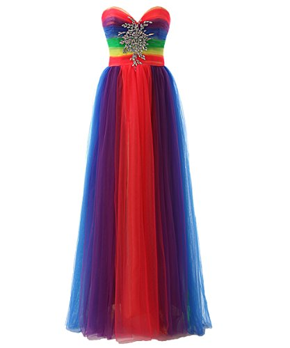 JAEDEN Colorful Rainbow Evening Dresses Long Prom Gown Sweetheart Multicoloured Colorful US14