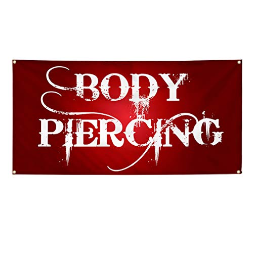(Vinyl Banner Sign Body Piercing Business Style C Outdoor Marketing Advertising Red - 24inx60in (Multiple Sizes Available), 4 Grommets, One)
