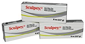 Sculpey III White Oven-Bake Clay - Used for Creating Home Decor, Figurines, Etc - 8 Ounces, Pack of 3