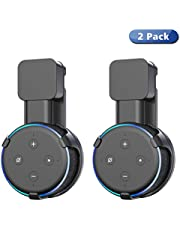Wigoo Wall Mount Holder Stand Hanger for Dot 3rd Generation (2018 Release), Built-in Cable Management without Screws, Compact Holder Case in Kitchens, Bathroom and Bedroom (Black, 2 Pack)