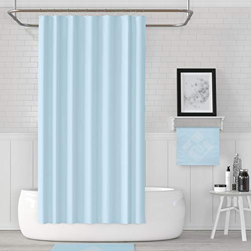 American Bath Linen Blue Solid Color Shower Curtain (Cortinas de Baño) for Modern bathrooms. Durable, Quick Drying, Water Repellent & Odorless Fabric (Solid Sky Blue, Long, 71