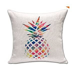 CCTUSGSH Colorful Pineapple Fruit Simple Style Cotton Throw Pillow Case Cushion Cover 18 X 18 Inches Two Sides