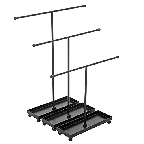 MyGift Jewelry Rack with Ring Dish, T-Bar Necklace Hangers, Black, Set of 3 (Bracelet Necklace Metal)