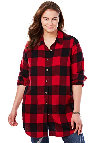 Woman Within Women's Plus Size Classic Flannel Shirt - Classic Red Black Plaid, 1X
