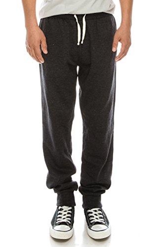 Men's Casual Jogger Sweatpants Basic Fleece Marled Jogger Pant Elastic Waist (XXX-Large, Charcoal Grey (Slanted Pocket)) (Elastic Waist Sweatpants)
