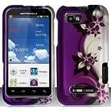 Motorola Defy XT XT556 / XT557 (StraightTalk/US Cellular) Purple/Silver Vines Design Hard Case Snap On Protector Cover + Free Opening Tool + Free American Flag Pin