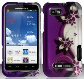 Motorola Defy XT XT556 / XT557 (StraightTalk/US Cellular) Purple/Silver Vines Design Hard Case Snap On Protector Cover + Free Opening Tool + Free American Flag Pin (Xt Covers Phone Motorola Defy)
