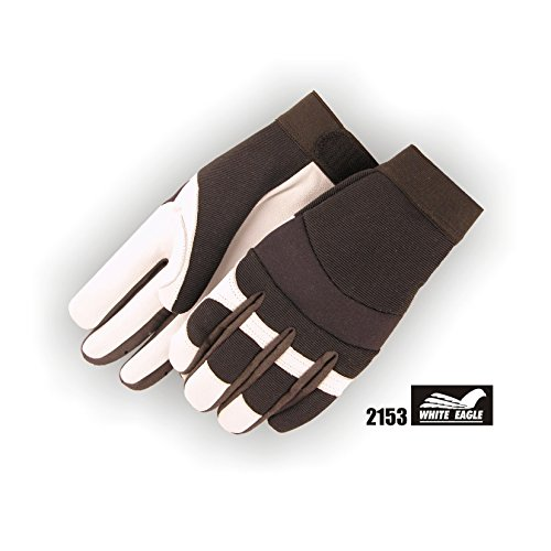 (12 Pair) Majestic GOATSKIN PALM GLOVES WITH KNIT BACK - SMALL, WHITE(2153/ 8)