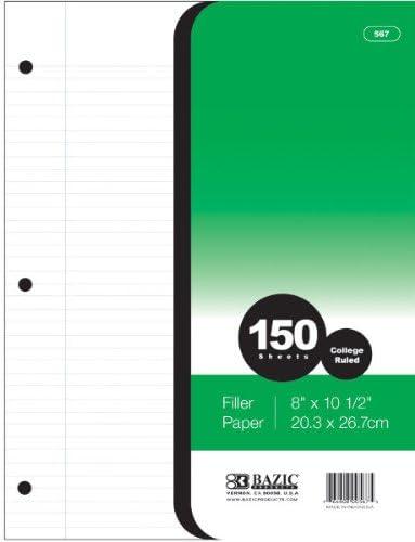 Bazic Colegio regla 150 Count Filler Papel 24 pcs SKU # juguete Ma ...
