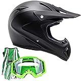 Adult Offroad Helmet Goggles Gloves Gear Combo Matte Black Green (Large)