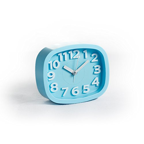 LauderHome Alarm Clock for Kids, No Ticking Analog, Battery Powered, Ease of Use (Sky blue)