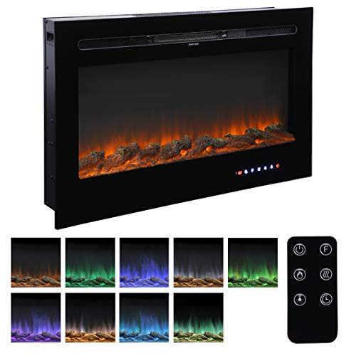 Homedex 36 Recessed Mounted Electric Fireplace Insert with Touch Screen Control Panel, Remote Control, 750 1500W, Black