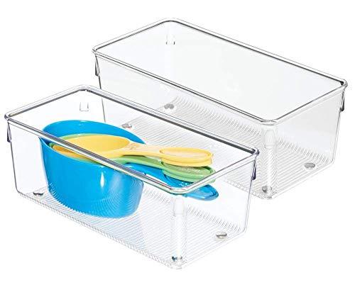 iDesign Linus Kitchen Drawer Organizer for Silverware, Spatulas, Cutlery, Gadgets, Office Supplies, Cosmetics, 4″ x 8″ x 3″, Set of 2, Clear