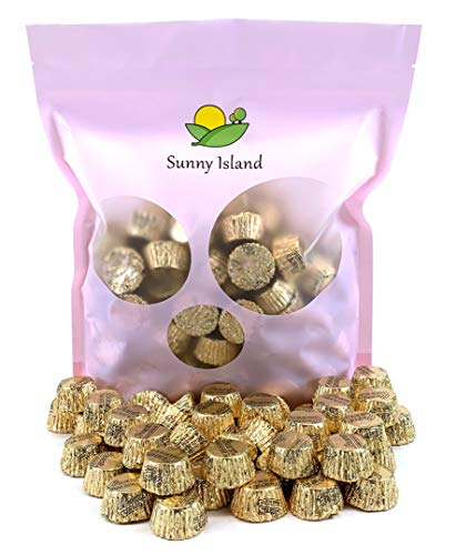 Sunny Island Bulk - Reese's Miniatures Peanut Butter Cup Milk Chocolate Candy Gold Foil Wrap, 2 Pounds Bag (Peanut Butter Gold)