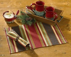 (Timber Ridge Placemats Set of 4 by Creative Home Accents, Brown, 13x19 inches )