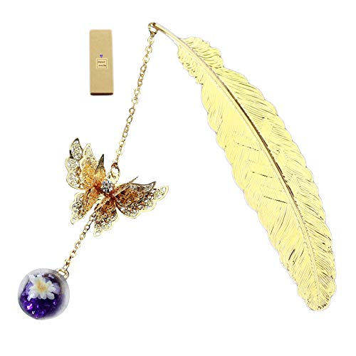 ETbotu Retro Vintage Bookmark Design of Feather + Butterfly Metal Bookmarks Promotional Gift School Office Supplies Golden Feather Butterfly Purple Diamond White Flower