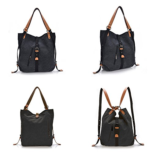 Yolin Backpack Shoulder Multifunctional Bag Women Backpack Purse Handbags Fashion Ladies Casual Blcak Canvas wEXxq