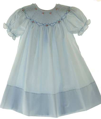 Rosalina Baby Toddler Girls Blue Smocked Portrait Bishop Dress (2T) for $<!--$50.00-->