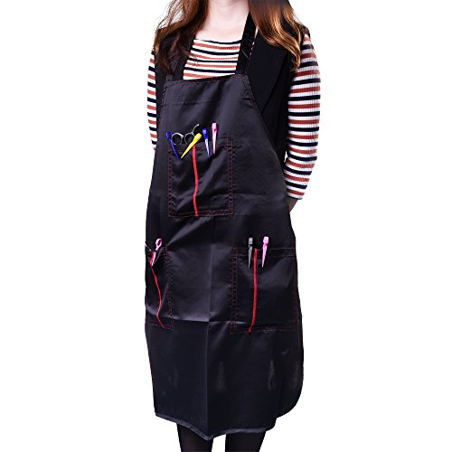 Kloud City Professional Waterproof Salon Haircut Apron Pocket Washable Baking Bib Apron Black