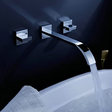 Aquafaucet Contemporary Waterfall Bathroom Sink Faucet Two Handles