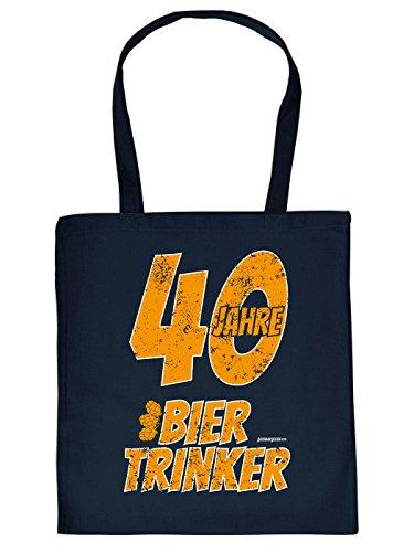 Coole Baumwolltasche, Bag zum 40. Geburtstag: BIERTRINKER, Geschenk zum 40. Geburtstag, Goodman Design