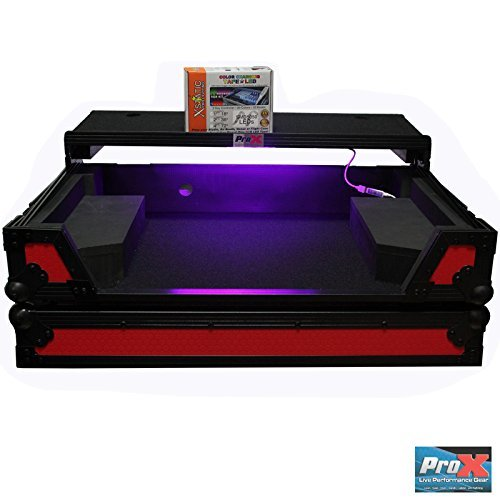 ProX flight case for pioneer DDJ-SX2 LED Kit Included Red on Black Laptop shef & (Controller Flight Case)