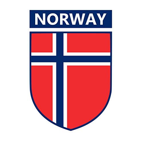 TENNER.LONDON Set of 5 Norway Flag Crest Iron on Screen Print Fabric Applique Machine Washable Transfer Norwegian Flag
