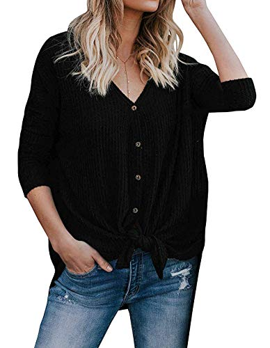 Basic Faith Women's S-3XL Ultra Soft Bat Wing Blouse Casual Button Down Thermal Tops Black L