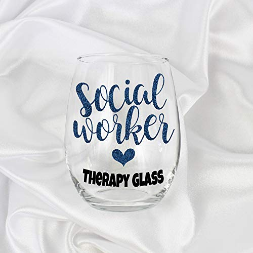 Social Worker Gifts for Women 20oz Stemless Therapy Glass 0025