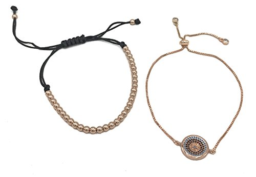 Evil Eye and Handmade Beaded Bracelet Set Available in 3 Metal Colors (rose-gold-plated-base)