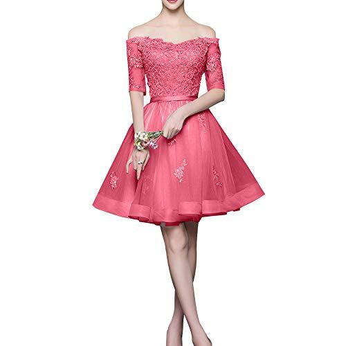 La Marie Schulterfrei Cocktailkleider Braut mit Langarm Rock Mini Silber Promkleider Abendkleider Wassermelon Spitze rrdFZqxnw