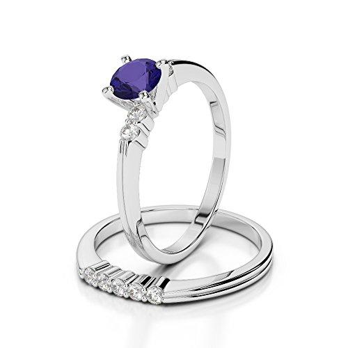 G-H/VS 1/2ct Coupe ronde sertie de diamants et tanzanite Ensemble et de fiançailles bague de fiançailles en platine 950Agdr-1158