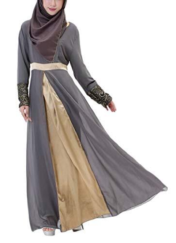 Jaycargogo Womens Longue Robe En Mousseline De Soie De Couture Automne Manches Balancer Longue Robe 1
