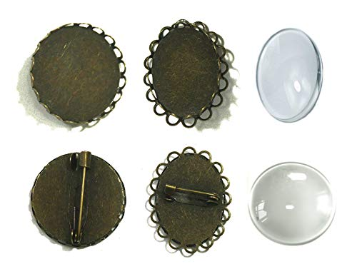 ALL in ONE Brooch Cabochon Set: 10pcs Mixed Style Cabochon Frame Setting Tray Brooch with 10pcs Glass Dome for DIY Jewelry Making Jewelry Making DIY Findings (Antique Bronze 20pcs) (Brooch In Bulk)