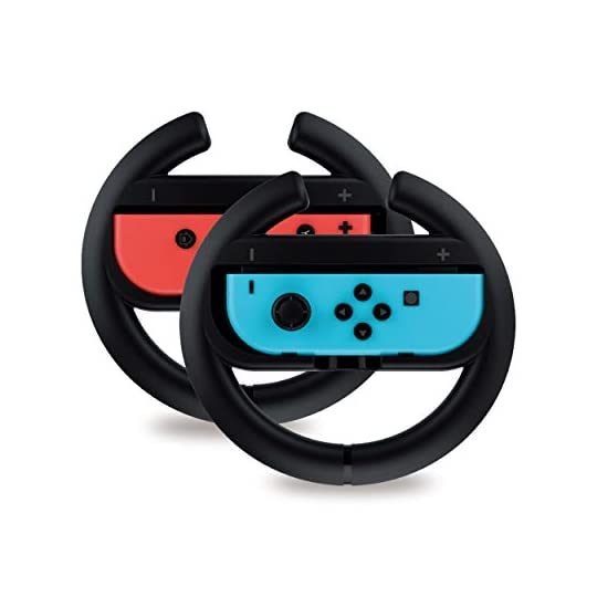 Steering Wheel Controller for Nintendo Switch (2 Pack) by TalkWorks | Racing Games Accessories Joy Con Controller Grip…