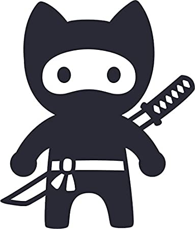 Cool Cute Kawaii Ninja Kitty Cat Cartoon Emoji Vinyl Decal Sticker (4