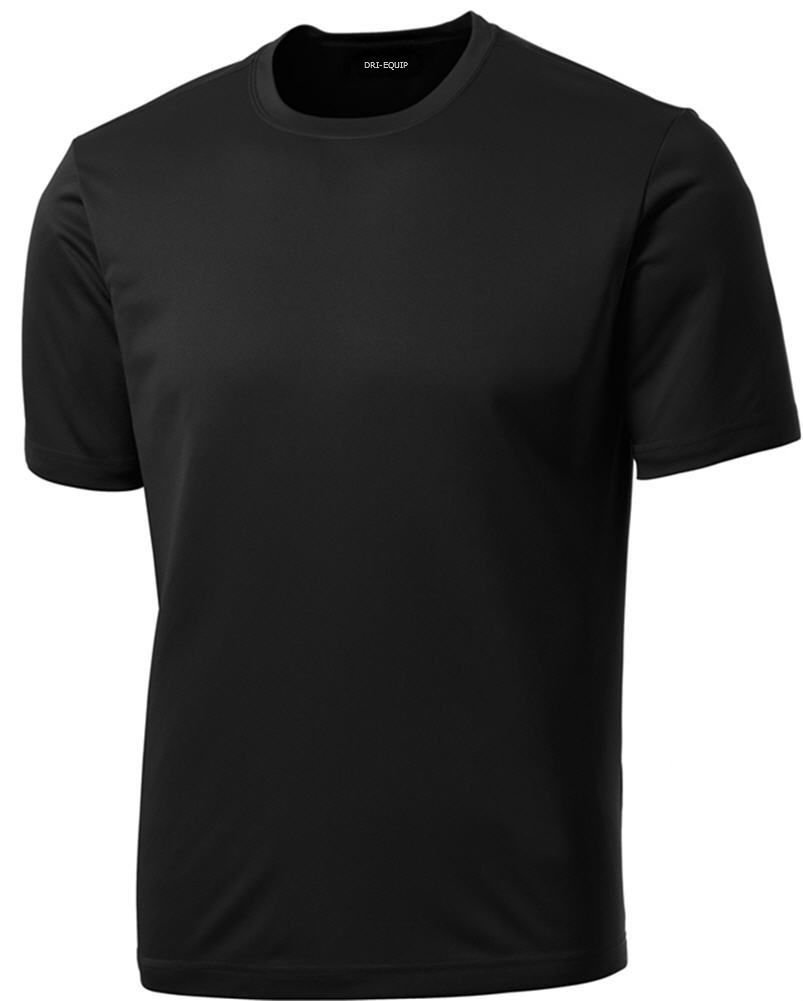 DRIEQUIP Men's Short Sleeve Moisture Wicking Athletic T-Shirt-Black-XL