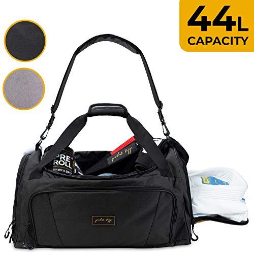 Gold BJJ Jiu Jitsu Duffle Bag - Waterproof Pocket for Sweaty Gi, Rashguard, or Shoes - The Perfect Duffel Bag for Martial Arts Gear, Boxing, MMA, and More (Black)