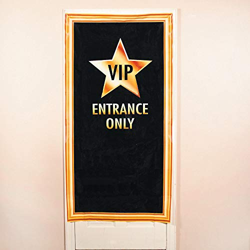 Fun Express VIP Entrance Door Cover | 1 Count | Great for Birthday/Christmas/Halloween/Graduation Parties, Hollywood/Movie Night/Broadway Theme -
