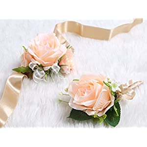 Wedding Prom Wrist Corsage Single Silk rose and Boutonniere Set Pin Ribbon Included (Classic Oldrose theme) 3