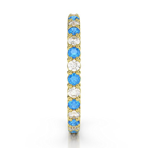 Or jaune 18 carats 0,40 CT G-H/VS sertie de diamants Coupe ronde Topaze bleue et bague éternité Agdr-1110