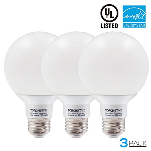 Globe Compact Fluorescent Light Bulb - G25 Globe led Bulb Dimmable 7W 60W Equiv, Vanity Style Daylight 5000K for Makeup, Pendant, Bathroom, Dressing Room Decorative Light, 3 YEAR WARRANTY, Pack of 3