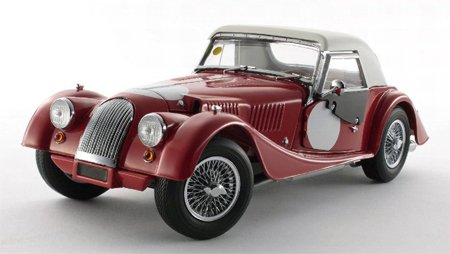 Morgan 4 /4 Red With White Top &サイドカーテン1 /18 by Kyosho 08114 B00BD2V37I