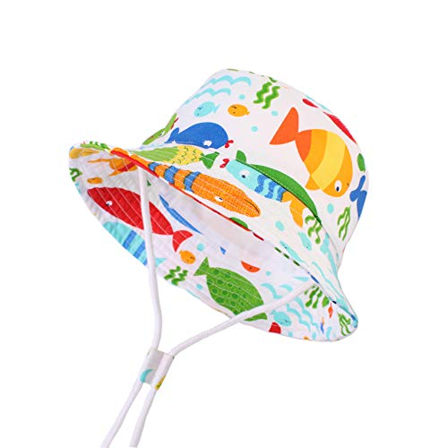 Sun Protection Hat for Kids Toddler Boys Girls Wide Brim Summer Play Hat Cotton Baby Bucket Hat with Chin Strap (Colorful Fish, S: 6M-12M (48cm /18.9