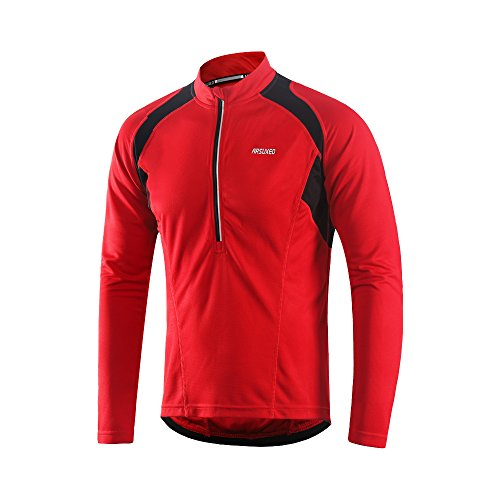 ARSUXEO Men's Half Zipper Cycling Jerseys Long Sleeves MTB Bike Shirts 6031 Red Size Medium ()