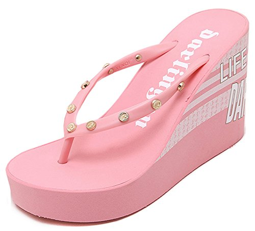 Pink Wedge Flip Flop (IDIFU Women's Comfy High Heels Wedge Platform Thong Sandals Beach Flip Flops Pink 7 B(M))