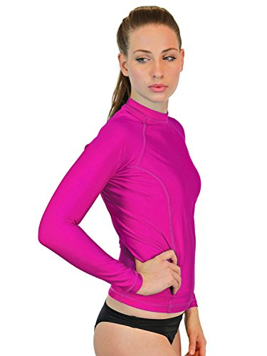 Swim Shirt For Women - Long Sleeve Rash Guard Top With UV 50 Skin / Sun Protection, Workout Shirt., Made In USA! (Fuchsia, Small)