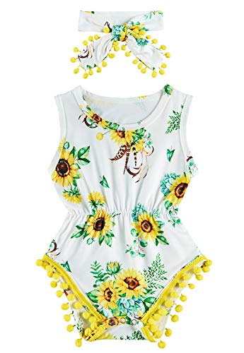 UNICOMIDEA Newborn Toddler Baby Girl Tassel Romper Bodysuit Floral Sleeveless Jumpsuit Outfit Set Match Headband